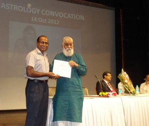Jyotish Acharya Award by Guru Sh.K.N.Rao